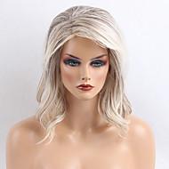 Populair aantrekkelijk grijswit krullen lange menselijk haar pruiken