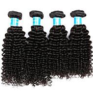 זול -שיער אנושי שיער פרואני טווה שיער אדם Kinky Curly תוספות שיער 4 חלקים שחור