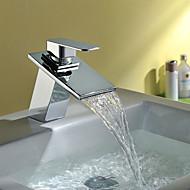 cheap Bathroom Sink Faucets-Contemporary Art Deco/Retro Modern Centerset Waterfall Ceramic Valve One Hole Single Handle One Hole Chrome, Bathroom Sink Faucet