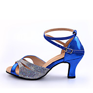 "Women's Latin Leather Leatherette Paillette Heels Indoor Splicing Heel Blue Red 2"" - 2 3/4"" Customizable"