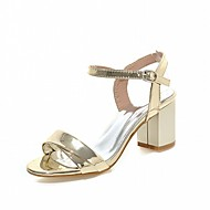 Women's Sandals Leatherette PU Summer Fall Walking Buckle Chunky Heel Gold Silver Ruby Blushing Pink 2in-2 3/4in