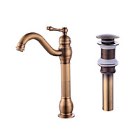 Contemporary CentersetCeramic Valve One Hole for  Antique Copper , Bathroom Sink Faucet