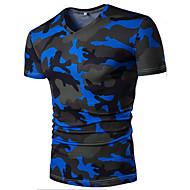 男性用 スタイリッシュ プリント Tシャツ 活発的 Vネック カモフラージュ コットン