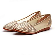 Women's Flats Comfort Tulle Fabric Spring Summer Casual Office & Career Beading Sparkling Glitter Flat Heel Gold Blushing Pink Flat