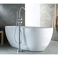Contemporary Art Deco/Retro Modern Floor Mounted Handshower Included Floor Standing Pullout Spray with  Brass Valve Bathtub Faucet Mixer