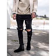 Masculino Moda de Rua Punk & Gothic Cintura Média Inelástico Delgado Jeans Calças,Skinny Cor Única,Ganga