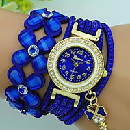 Dámské Náramkové hodinky Křemenný S kamínky Kůže Kapela Květina Cikánské Černá Modrá Červená Hnědá