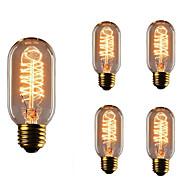 billige Glødelampe-5pcs t45 e27 40w glødende vintage edison pære til restaurant klubb kaffebarer lys ac110-130v