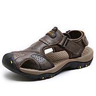 גברים סנדלים נוחות עור נאפה Leather קיץ אתלטי נעלי מים נוחות סקוטש עקב שטוח חום חום כהה חאקי שטוח