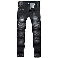 Masculino Simples Cintura Média Elasticidade Alta Jeans Chinos Calças,Solto Delgado Sólido