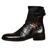 baratos Sapatos Masculinos-Homens Sapatas de novidade Couro Outono / Inverno Conforto Botas Caminhada Botas Curtas / Ankle Preto