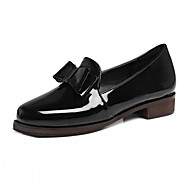 Women's Heels Leatherette PU Summer Fall Walking Bowknot Block Heel White Black Burgundy 1in-1 3/4in