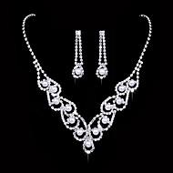 Dame Kvadratisk Zirconium Smykkesæt - Kvadratisk Zirconium, Sølv Dråbe Mode, Elegant Omfatte Dråbeøreringe Kort halskæde Brude Smykke sæt Sølv Til Bryllup Fest Jubilæum Forlovelse