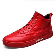 Muškarci Cipele PU Til Proljeće Jesen Udobne cipele Sneakers Vezanje za Atletski Kauzalni Vanjski Obala Crn Crvena