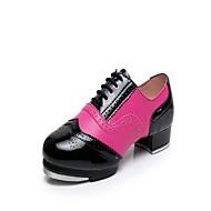 baratos Sapatilhas de Dança-Mulheres Sapatilhas de Sapateado Pele Salto / Têni Recortes Salto Baixo Sapatos de Dança Black / azul / Vermelho / Branco / Branco / Prata / Ensaio / Prática