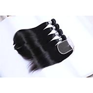 Tissages de cheveux humains Cheveux Brésiliens Droit Plus d'Un An 5 tissages de cheveux