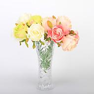 7 Gren Styropor Plastikk PU Ekte Touch Roser Bordblomst Kunstige blomster