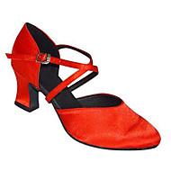 """billige Moderne sko-Dame Moderne Silke Sandaler Ytelse Kryssdrapering Kubansk hæl Svart Rød Mandel 2 """"- 2 3/4"""" Kan spesialtilpasses"""