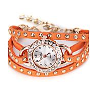 billige Quartz-Dame Modeur Unik Creative Watch Quartz Stor urskive Læder Bånd Analog Vintage Sort / Hvid - Hvid Orange Brun Et år Batteri Levetid / SSUO LR626
