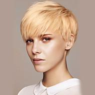 Vrouw Human Hair Capless Pruiken Beige Blonde // Bleach Blonde Kort Recht Pixie-kapsel Met pony