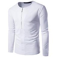 Masculino Camiseta Festa Para Noite Casual Simples Temática Asiática Primavera Outono,Sólido Algodão Decote Redondo Manga Longa