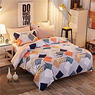 Duvet Cover Sets Plaid/Checkered 4 Piece Reactive Print (If Twin size, only 1 Sham or Pillowcase)