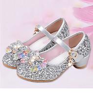 baratos Sapatos de Menina-Para Meninas Sapatos Courino Primavera Verão Conforto / Sapatos para Daminhas de Honra Rasos Lantejoulas / Presilha para Prata / Azul /