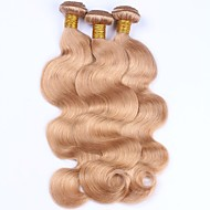 Gerçek Saç İri Dalgalı Peru Saçı Precolored saç örgüleri Vücut Dalgası Saç uzatma 3 Parça Çilek Sarısı