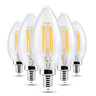 4W E14 LED 캔들 조명 C35 4 LED가 COB 밝기조절가능 장식 따뜻한 화이트 차가운 화이트 300-400lm 2800-3200/6000-6500K AC 220-240V