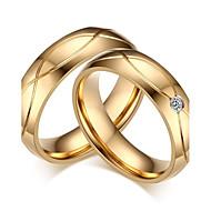 Par Parringe - Kvadratisk Zirconium, Titanium Stål Klassisk, minimalistisk stil, Elegant 5 / 6 / 7 / 8 / 9 Guld Til Bryllup Fest Jubilæum / Forlovelse