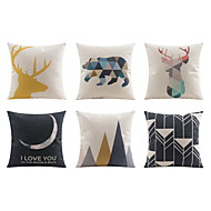 6.0 kpl Pellava Tyynyliina sohva tyyny Tyynynpäälinen Sänkytyyny Body-tyyny Matkatyyny,Geometrinen Eläin TavallinenRento/arki