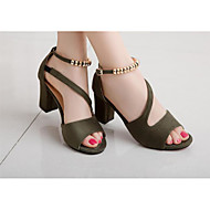 cheap Women's Heels-Women's Shoes Leather Leatherette Summer Basic Pump Heels for Casual Black Gray Green Pink