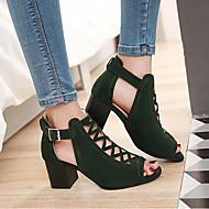 Feminino Sapatos Pele Nobuck Primavera Conforto Gladiador Sandálias Para Casual Preto Verde Amêndoa