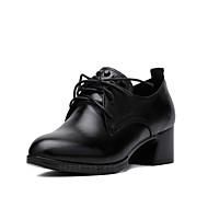 Damer Hæle Originale Formelle sko Ægte Læder Forår Efterår Afslappet Originale Formelle sko Snøring Kombination Tyk hæl Sort 2,5-4,5 cm