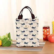 Unisex Bags Canvas Lunch Bag Printing for Casual All Seasons Blue Green Blushing Pink Beige