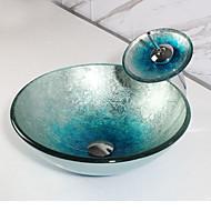 Rond sink Materiaal is Glas Badkamer Wastafel Badkamer Kraan Badkamer Montagering Badkamer Waterafvoer