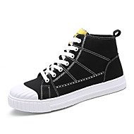 cheap Black High Tops-Men's Sneakers Comfort Spring Summer Fall Winter Canvas Walking Shoes Casual Party & Evening Outdoor Lace-up Flat Heel Black Gray Green