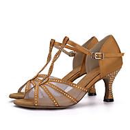 baratos Sapatilhas de Dança-Mulheres Sapatos de Dança Latina Seda Sandália / Salto Pedrarias / Presilha Salto Carretel Sapatos de Dança Vermelho / Azul / Nú / Couro