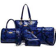 お買い得  バッグセット-女性用 バッグ PU バッグセット フラワー / ジッパー のために フォーマル / オフィス&キャリア ブルー / ルビーレッド / ベージュ