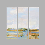 IARTS® Hand Painted Abstract Oil Painting The Beautiful Riverside View Set of 3 with Stretched Frame Picture For Home Decoration Ready To Hang