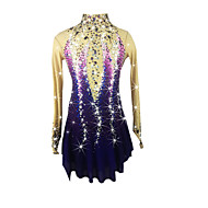 cheap -Figure Skating Dress Women's / Girls' Ice Skating Dress Purple Halo Dyeing Spandex High Elasticity Competition Skating Wear Handmade Jeweled / Rhinestone Long Sleeve Ice Skating / Figure Skating