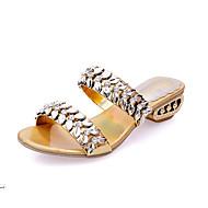 ieftine -70%-Pentru femei Pantofi Piele Primăvară Vară Toc Jos Piatră Semiprețioasă pentru Rochie Auriu Negru Argintiu