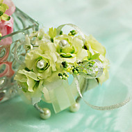 "billiga Brudbuketter-Brudbuketter Handleds Corsage Bröllop Chiffong Siden Cotton Satin 3.94""(ca. 10cm)"