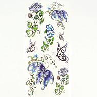 billiga Tatuering och body art-1 pcs Tatueringsklistermärken tillfälliga tatueringar Blomserier Vattentät Body art händer / arm / handled