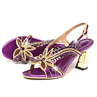 cheap Women's Sandals-Women's Sandals Comfort Novelty Summer Fall Leather Walking Shoes Casual Dress Rhinestone Buckle Stiletto Heel Gold Purple 2in-2 3/4in