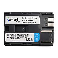 Ismartdigi bp511 7.4v baterie de camera 1700mah pentru canon 50d 40d 300d 30d 20d 10d g5 g6 bp512