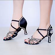 baratos Sapatilhas de Dança-Mulheres Sapatos de Dança Latina Seda Salto Presilha / Cristal / Strass Personalizável Sapatos de Dança Preto / Azul / Interior / Couro