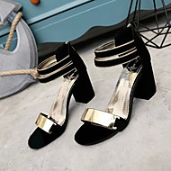 baratos Sapatos Femininos-Mulheres Sapatos Pele Nobuck Primavera / Verão Sapatos clube Sandálias Salto Robusto Dedo Aberto Metal Bege / Cinzento / Vermelho