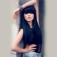 Naisten Ihmisen hiukset Capless Peruukit Musta Pitkä Suora Otsatukalla