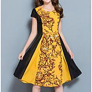 Feminino Bainha Vestido,Casual Simples Estampado Estampa Colorida Decote Redondo Altura dos Joelhos Manga Curta Algodão Verão Cintura Alta